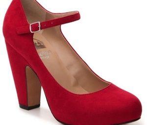"""""""Crown Vintage"""" Red Retro Look Mary Jane Heels"""
